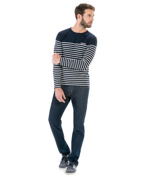 Tee-shirt manches longues homme rayé marine - Mode marine Homme