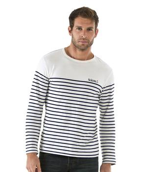 Tee-shirt manches longues homme rayé naturel - Mode marine Homme