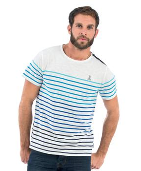 Tee-shirt manches longues homme rayé multicolore - Mode marine Homme