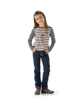 Pantalon fille denim bleu - Mode marine Enfant fille