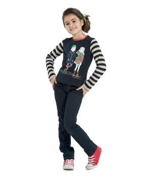 Tee-shirt manches longues fille marine - Mode marine Enfant fille