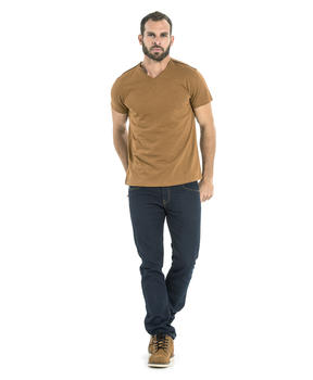 Tee-shirt manches courtes homme camel clair - Mode marine Homme