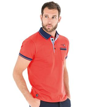 Polo manches courtes homme rouge corallin - Mode marine Homme