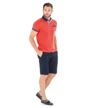 Polo manches courtes homme rouge corallin_1