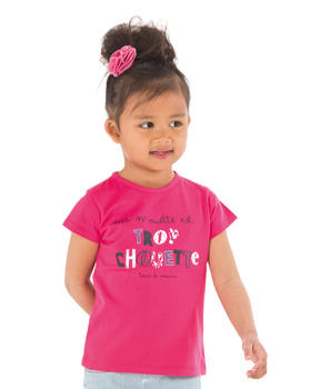 Tee-shirt manches courtes fille rose hibiscus - Mode marine Enfant fille
