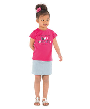 Tee-shirt manches courtes fille rose hibiscus_1