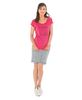 Tee-shirt manches courtes femme rose hibiscus_1