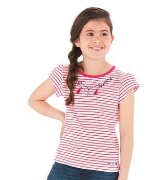 Tee-shirt manches courtes fille rayé rose grenadine - Mode marine Enfant fille
