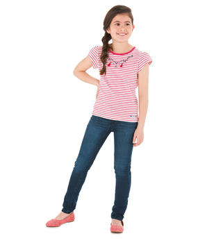 Tee-shirt manches courtes fille rayé rose grenadine_1