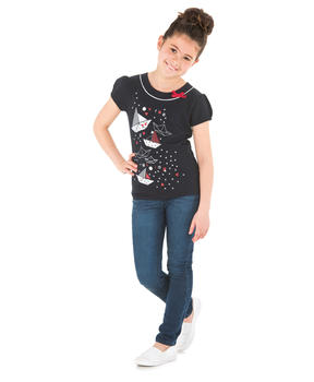 Tee-shirt manches courtes fille marine_1