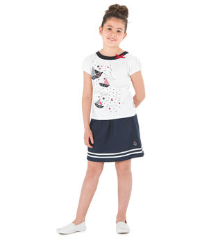 Tee-shirt manches courtes fille blanc_1
