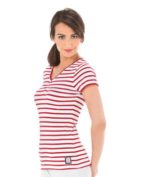 Tee-shirt manches courtes femme rayé rouge - Mode marine Catalogue Marketplaces