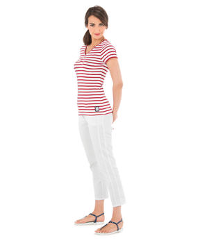 Tee-shirt manches courtes femme rayé rouge_1