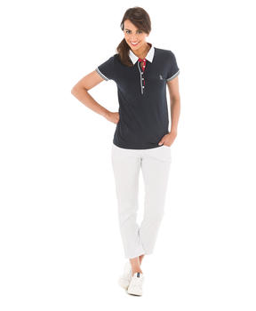Polo manches courtes femme marine_1