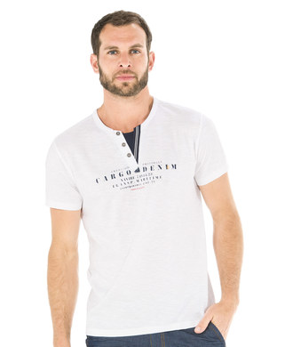 Tee-shirt manches courtes homme blanc optique - Mode marine Homme