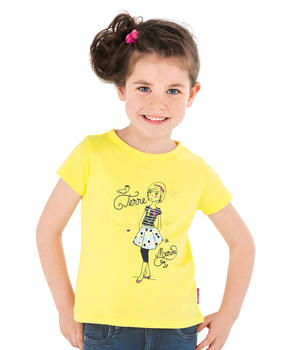 Tee-shirt manches courtes fille jaune clair blanchi - Mode marine Enfant fille