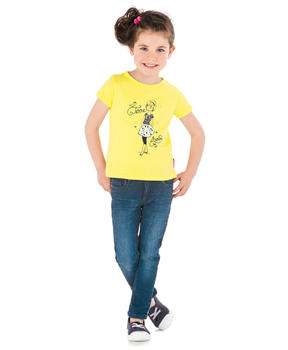 Tee-shirt manches courtes fille jaune clair blanchi_1