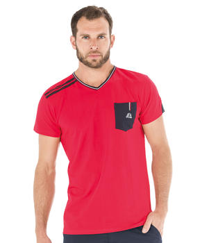 Tee-shirt manches courtes homme rouge madder - Mode marine Homme