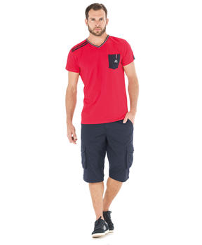 Tee-shirt manches courtes homme rouge madder_1