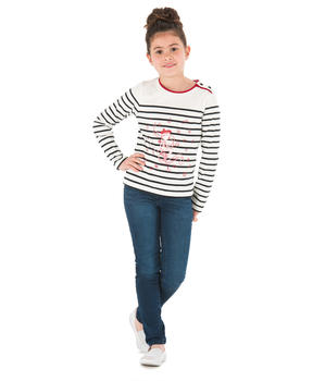 Tee-shirt manches longues fille rayé naturel_1