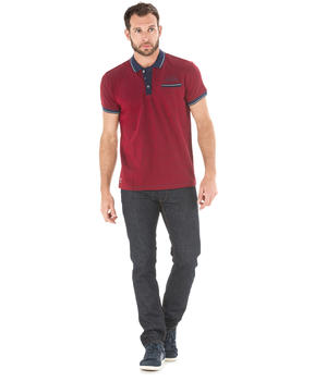 Polo manches courtes homme rouge madder_1