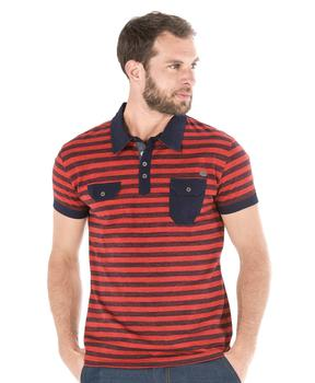 Polo manches courtes homme rayé  - Mode marine Homme