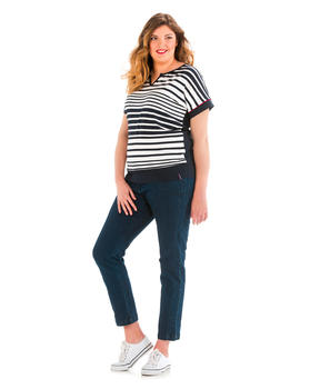 Tee-shirt manches courtes femme grande taille rayé _1