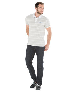 Polo manches courtes homme rayé beige - Mode marine Homme