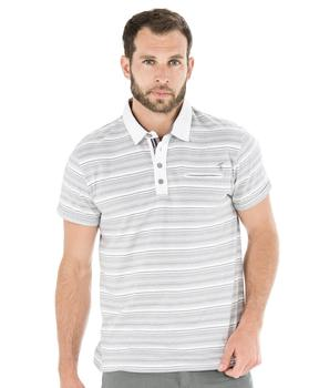 Polo manches courtes homme rayé gris - Mode marine Homme