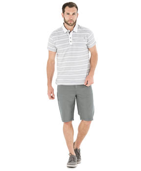 Polo manches courtes homme rayé gris_1