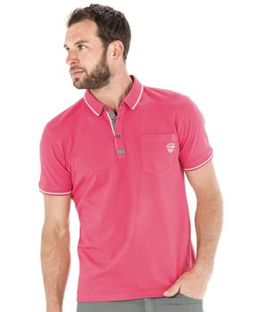 Polo manches courtes homme rose pivoine - Mode marine Homme
