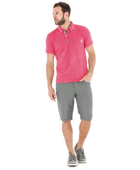 Polo manches courtes homme rose pivoine_1