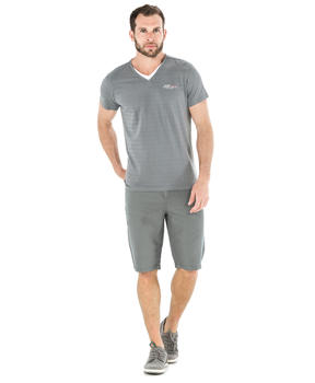 Tee-shirt manches courtes homme rayé gris_1