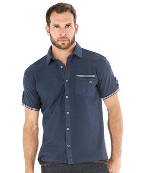 Chemise manches courtes homme bleu outre mer - Mode marine Homme