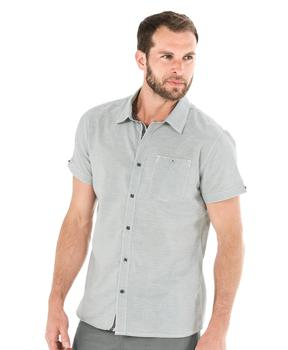 Chemise manches courtes homme rayé gris - Mode marine Homme