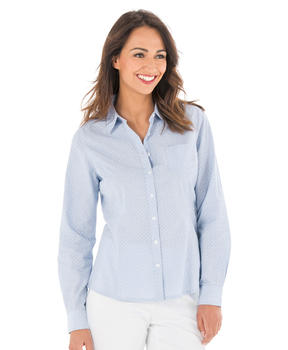 Chemisier manches longues femme bleu chambray - Mode marine Femme