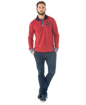 Polo manches longues homme rouge orange - Mode marine Homme