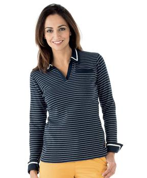 Polo manches longues femme rayé - Mode marine Femme