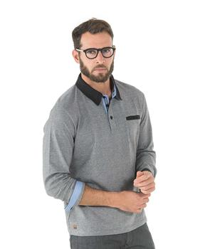 Polo manches longues homme gris - Mode marine Homme