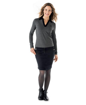 Polo manches longues femme gris anthracite chiné - Mode marine Femme