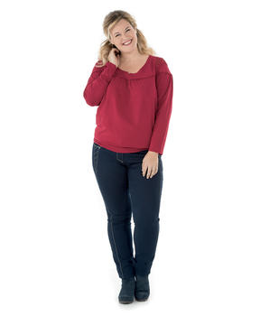 Tee-shirt manches longues femme rouge carmin_1