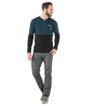 Tee-shirt manches longues homme noir rayé - Mode marine Homme