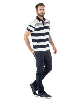 Polo manches courtes homme rayé marine - Mode marine Homme