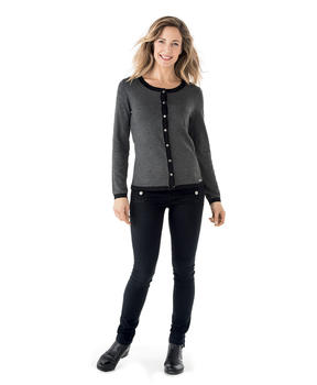 Cardigan femme gris anthracite chiné_1