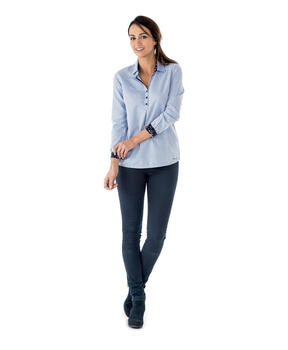 Chemise manches longues femme bleu chambray_1