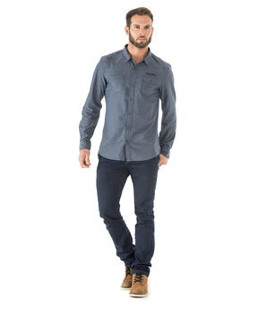 Chemise manches longues homme denim - Mode marine Homme