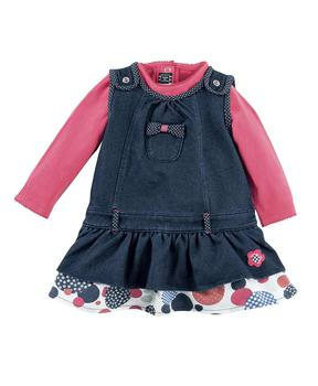 Robe +Tee-shirt bébé fille denim - Mode marine Bébé fille