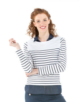 Tee-shirt manches longues femme rayé - Mode marine Femme