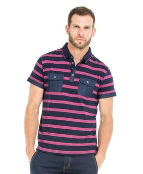 Polo manches courtes homme indigo rayé rose - Mode marine Homme