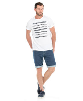 Tee-shirt manches courtes homme blanc craie_1